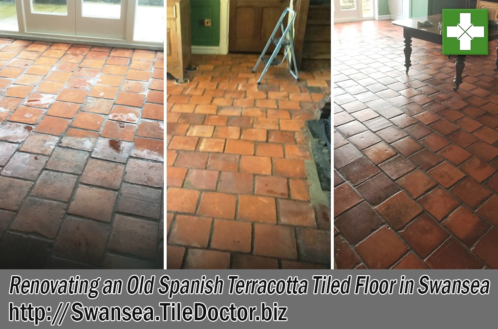 Spanish Terracotta Tiled Floor Before and After Renovation Swansea