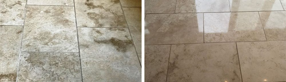 Stripping, Polishing and Sealing Travertine Tiles in Swansea