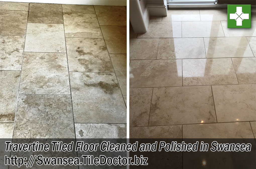 Travertine Tiled Floor Before and After Polishing Swansea