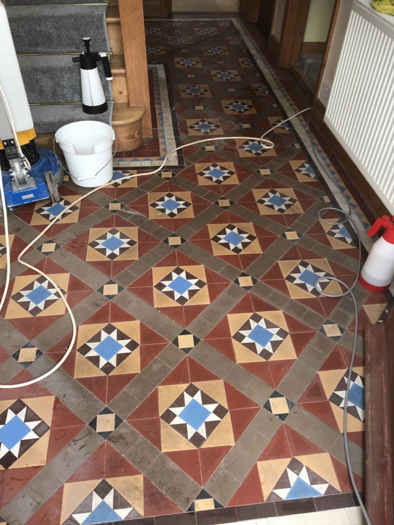 Victorian Hallway Floor Tiles Before Cleaning The Mumbles
