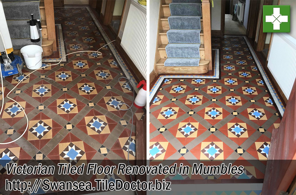 Victorian Tiled Floor Before After Cleaning Sealing Mumbles