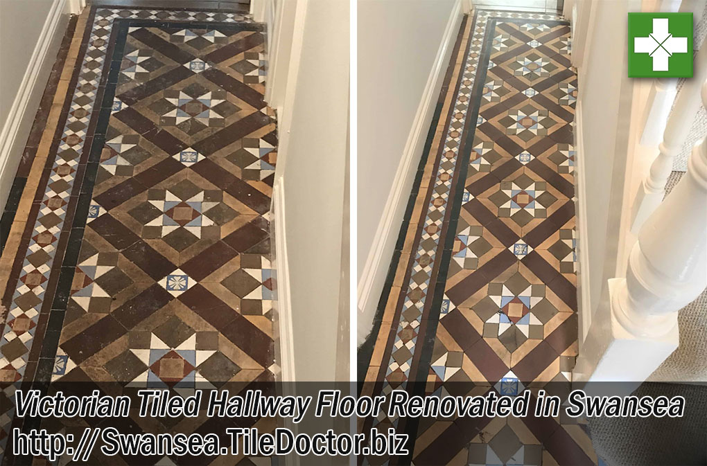 Victorian Tiled Hallway Before and After Renovation Swansea