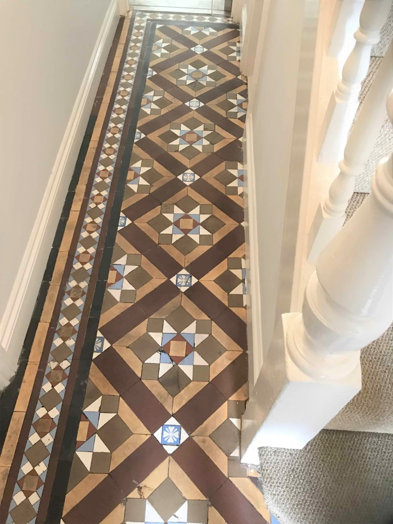 Victorian Tiled hallway floor after cleaning Swansea