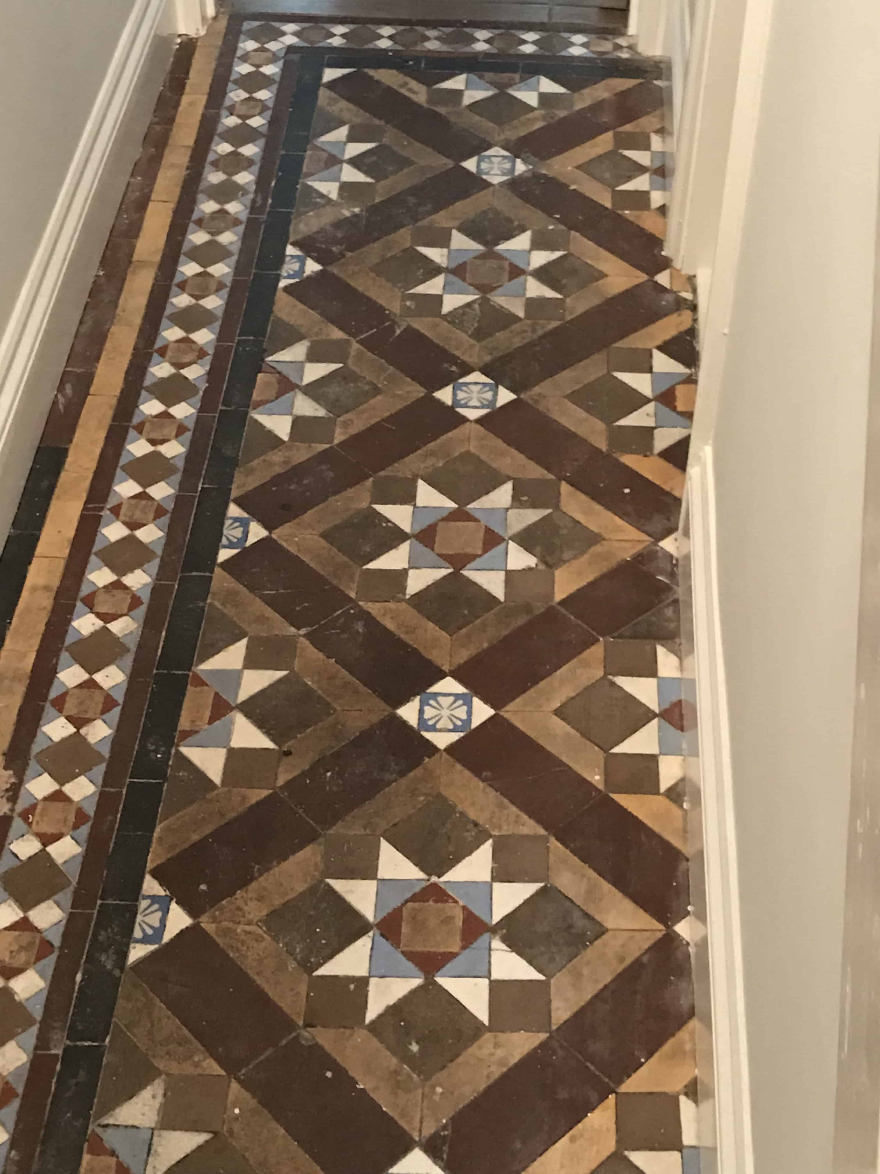 Victorian Tiled hallway floor before cleaning Swansea