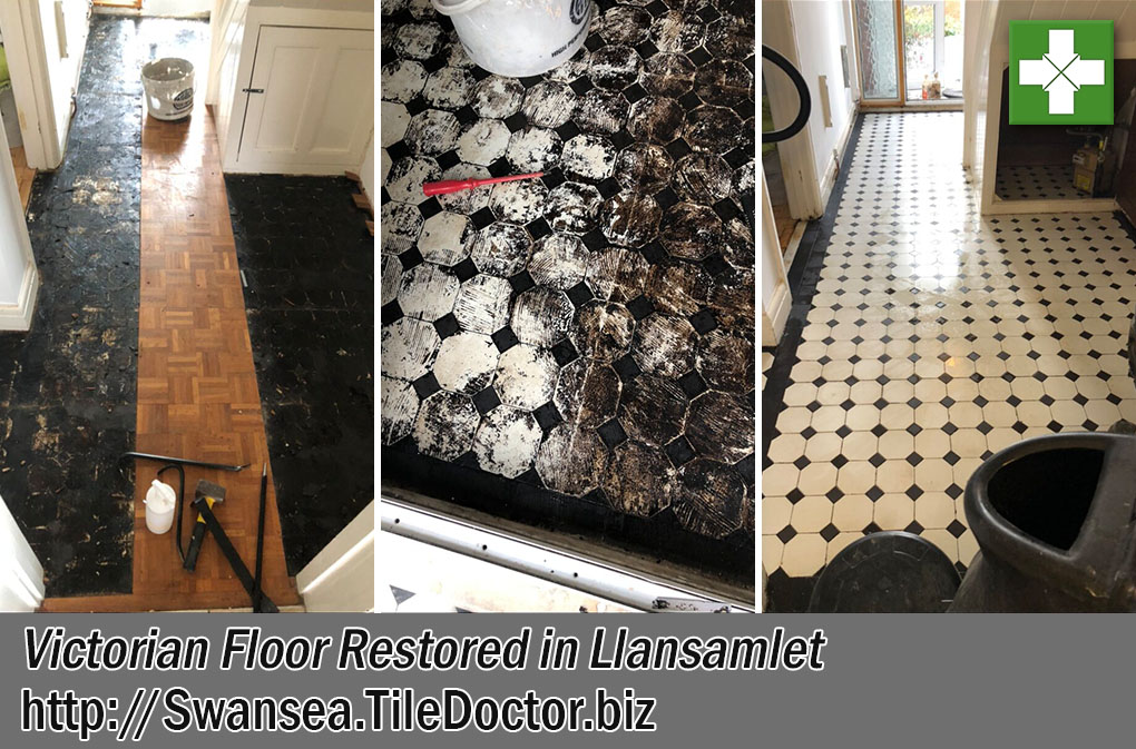 Parquet Covered Victorian Floor Before After Restoration Llansamlet