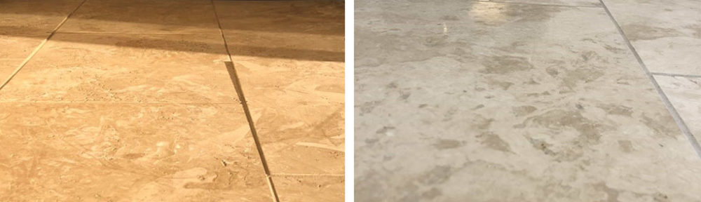 Levelling an Uneven Travertine Kitchen Floor in the Gower Peninsula