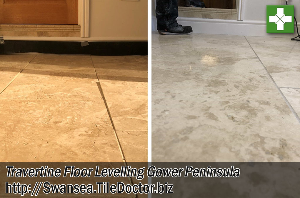 Uneven Travertine Tiled Kitchen Floor Before After Milling Gower Peninsula