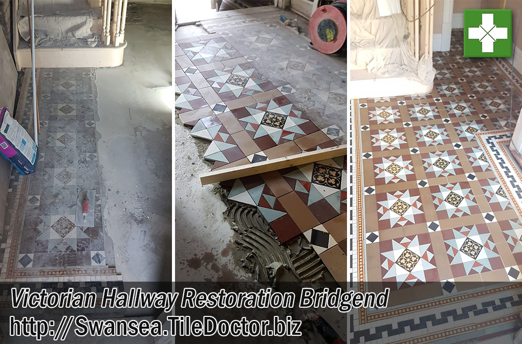 Victorian Tiled Hallway Floor Before and After Restoration Bridgend