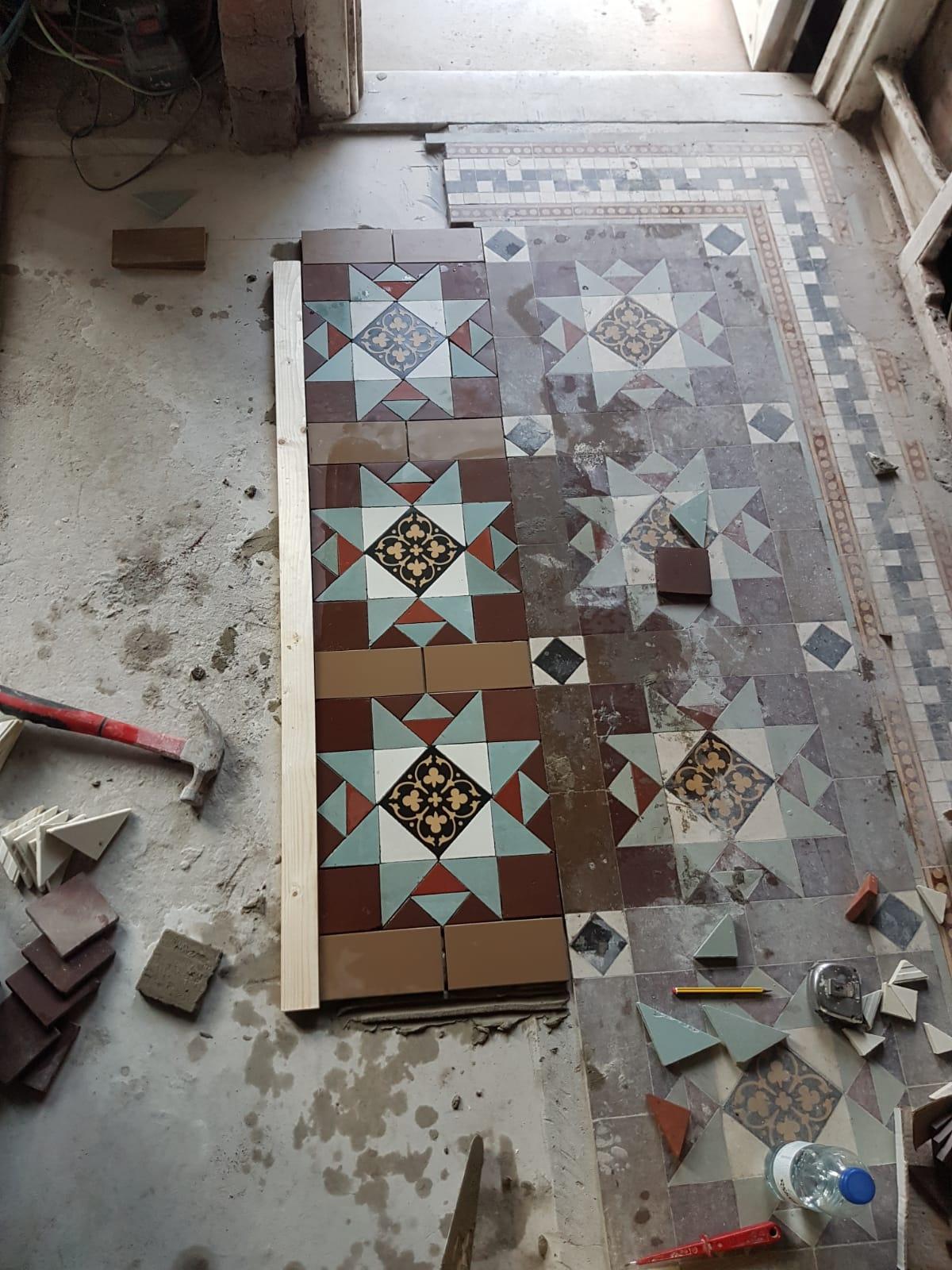 Victorian Tiled Hallway Floor During Extention in Bridgend