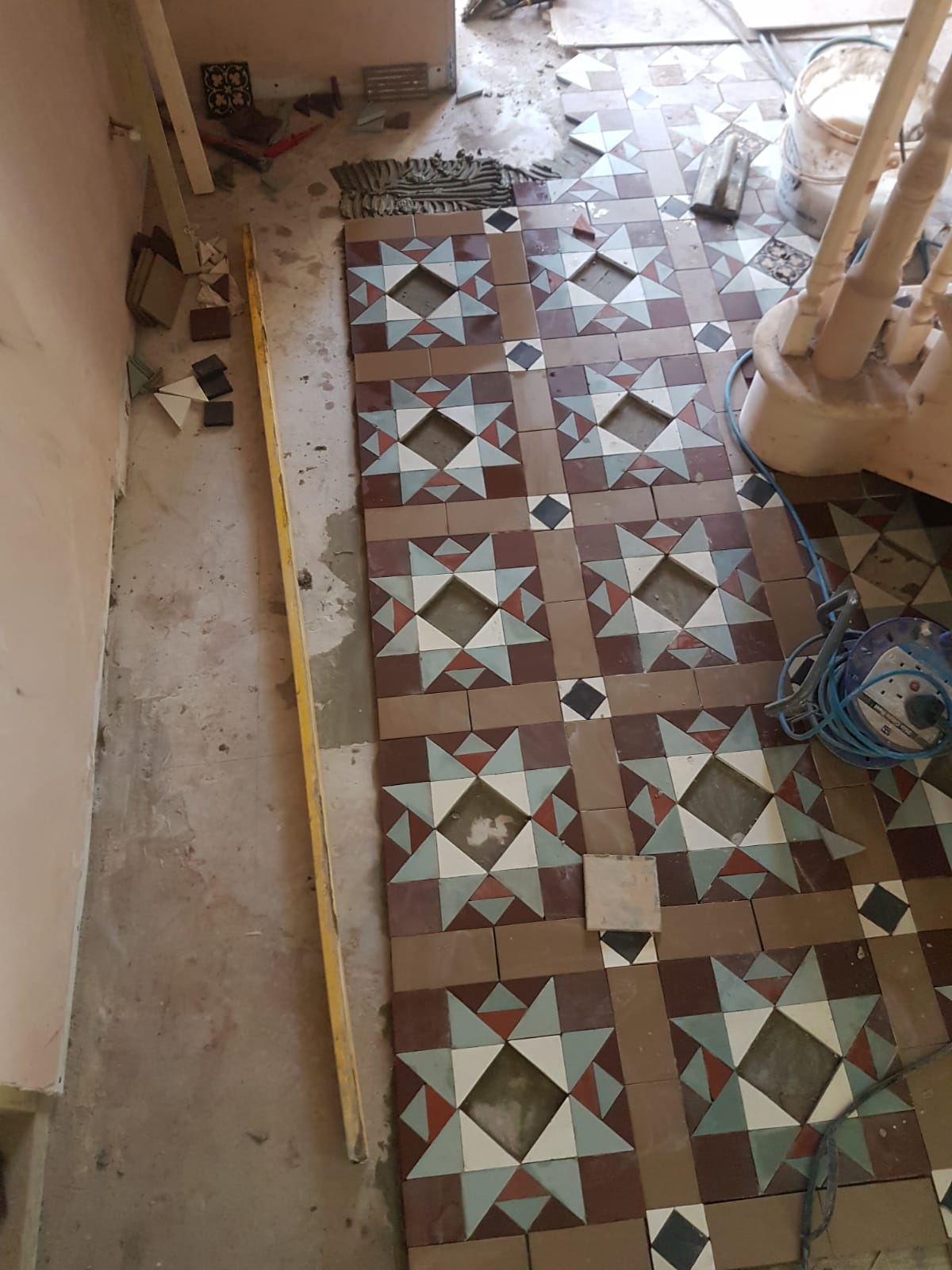 Victorian Tiled Hallway Floor During Extention in Bridgend