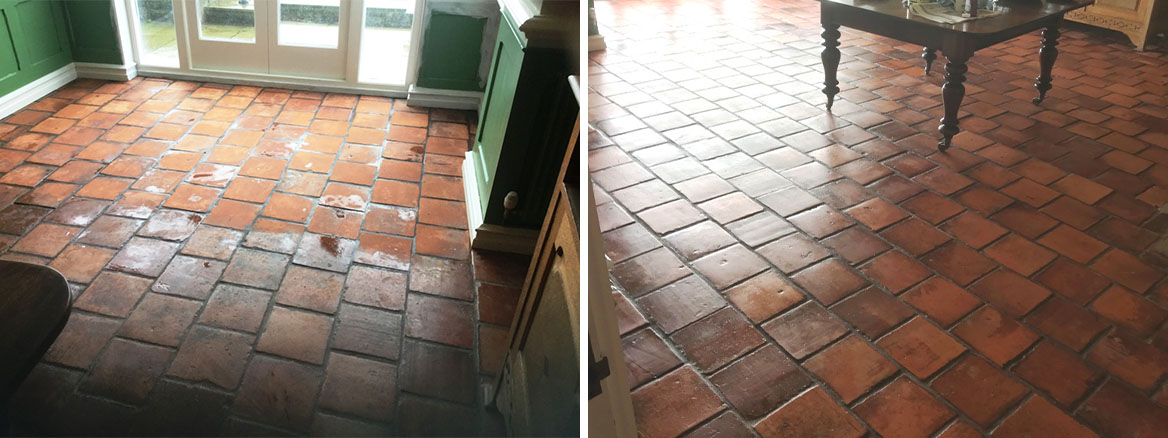 Dull Spanish Terracotta Tiled Floor Renovated in Swansea