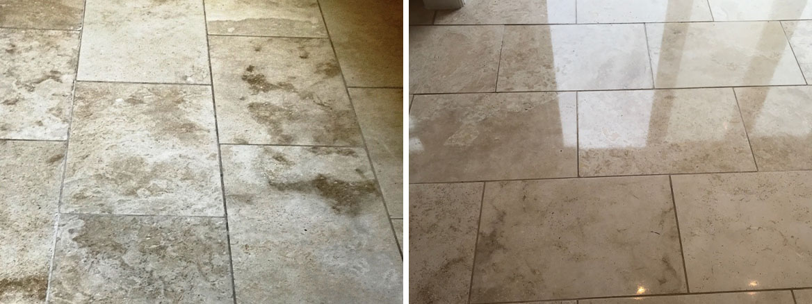 Travertine Floor Swansea Before After Cleaning and Sealing