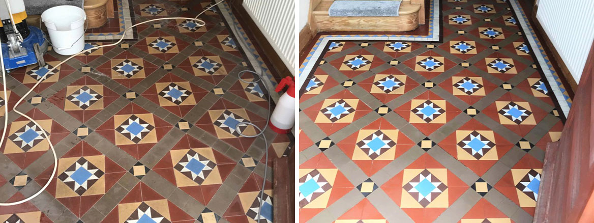 Victorian Hallway Floor Tiles Before and After Cleaning The Mumbles