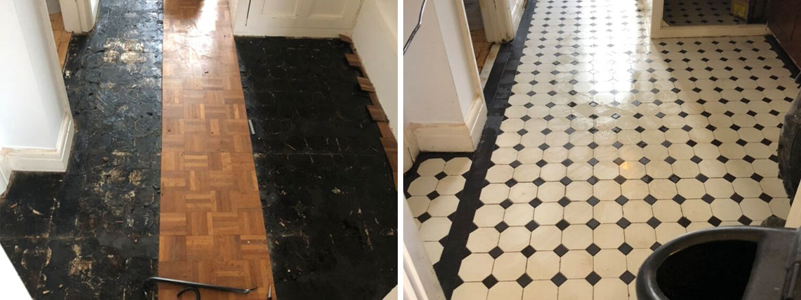 Victorian Tiled Floor Hidden Under Parquet Before After Restoration Llansamlet