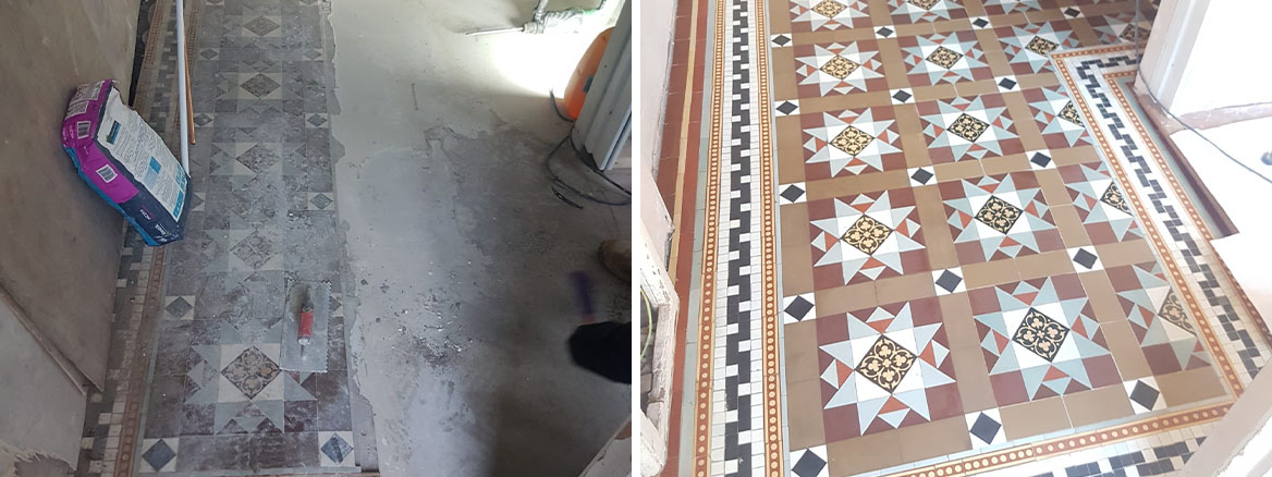 Victorian Tiled Hallway Floor Before After Extention in Bridgend