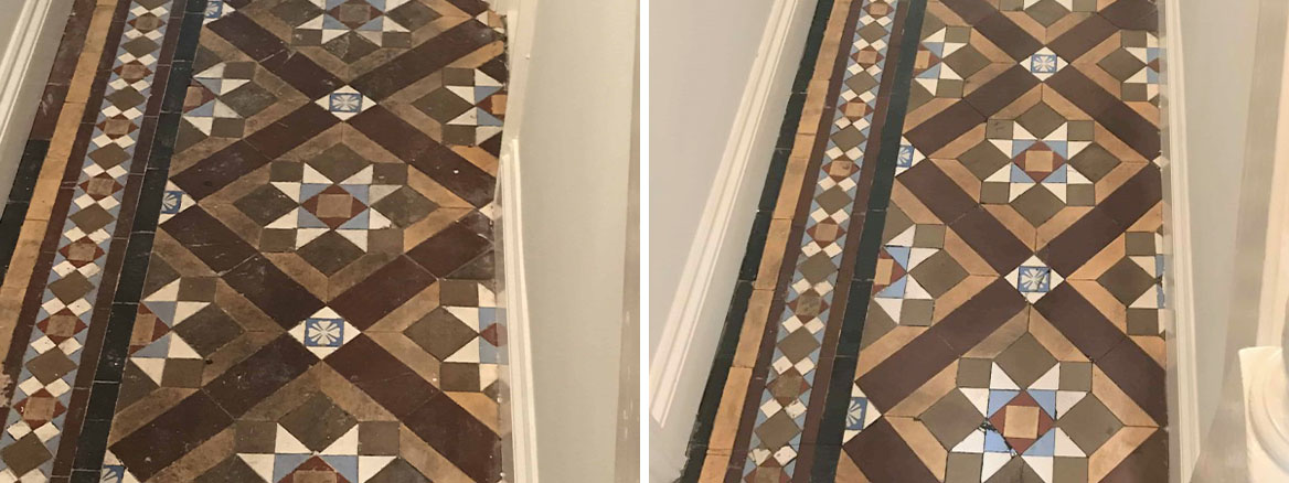 Victorian Tiled hallway floor before and after cleaning and Sealing Swansea
