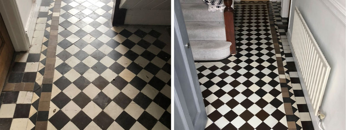 Diamond Pattern Victorian Hallway Floor Renovated in Llanelli