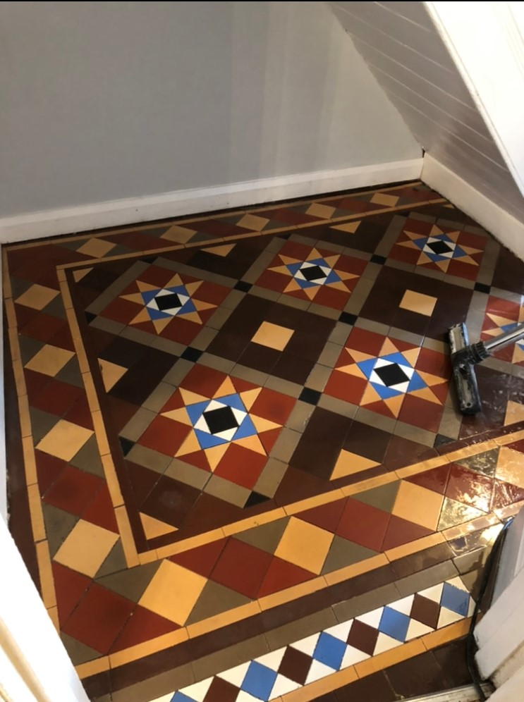 Victorian Tiled Hallway Floor After Renovation Glynneath