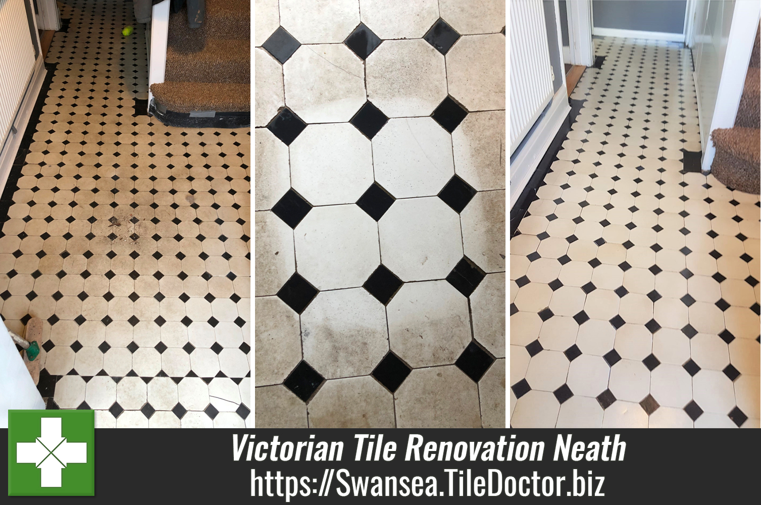 Victorian Tiled Hallway Floor Before After Renovation Neath